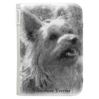 Yorkshire Terriers Pencil Drawing Kindle Keyboard Cases