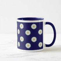 Yorkshire White Roses - Blue Background Mug