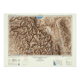 Yosemite and the Sierras--Vintage 1947 Map Poster