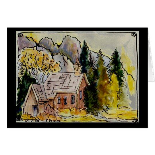 Yosemite Chapel Watercolor Card