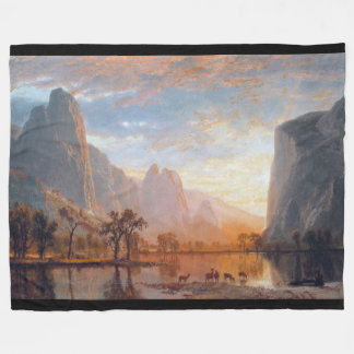 Yosemite Deer Wilderness Waterfall Fleece Blanket