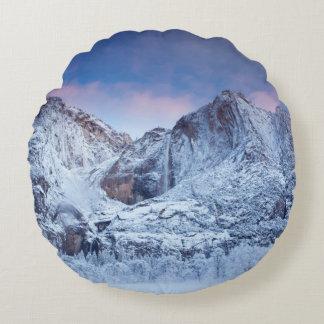 Yosemite Falls Sunrise Round Cushion
