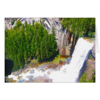 yosemite falls with rainbow greeting card