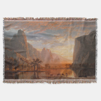 Yosemite Lake Deer Wilderness Sunset Throw Blanket