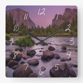 Yosemite National Park at Dusk Square Wall Clock