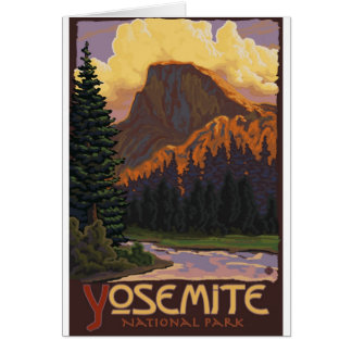 Yosemite National Park - Half Dome Travel Poster Greeting Card
