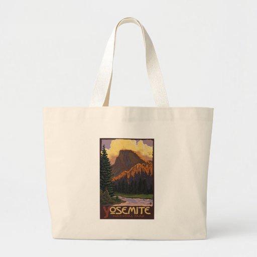 Yosemite National Park - Half Dome Travel Poster Jumbo Tote Bag