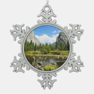 Yosemite National Park Valley View Snowflake Pewter Christmas Ornament