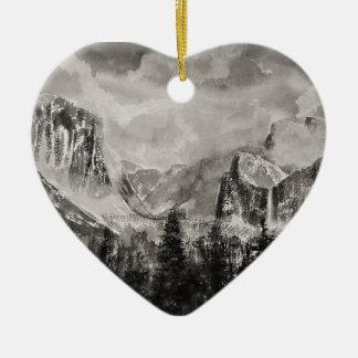 Yosemite Park in Winter Ceramic Heart Decoration