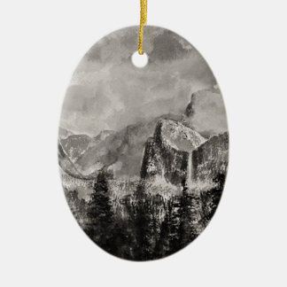 Yosemite Park in Winter Ceramic Oval Decoration