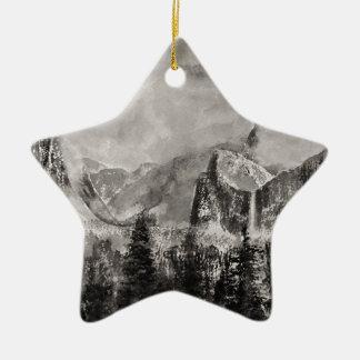 Yosemite Park in Winter Ceramic Star Decoration