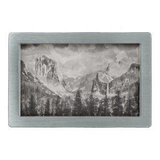 Yosemite Park in Winter Rectangular Belt Buckles