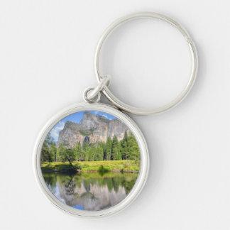 Yosemite Reflection Silver-Colored Round Key Ring