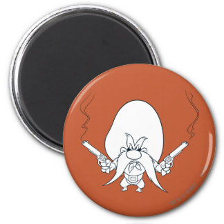 Yosemite Sam Smoking Guns 6 Cm Round Magnet