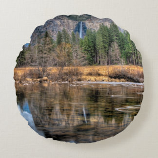 Yosemite Scenic Falls Round Cushion