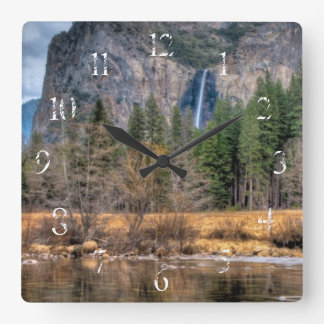 Yosemite Scenic Falls Square Wall Clock