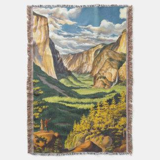 Yosemite Travel Art Throw Blanket