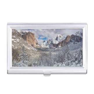 Yosemite Valley in Snow Business Card Holder