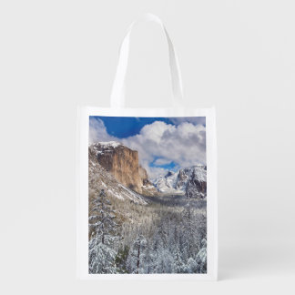 Yosemite Valley in Snow Reusable Grocery Bag
