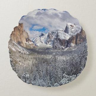 Yosemite Valley in Snow Round Cushion