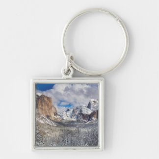 Yosemite Valley in Snow Silver-Colored Square Key Ring