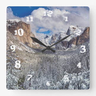 Yosemite Valley in Snow Square Wall Clock