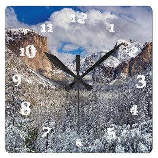 Yosemite Valley in Snow Wallclock