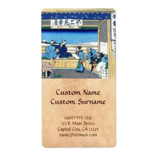 Yoshida at Tokaido Katsushika Hokusai Fuji Shipping Label