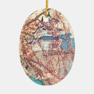 Yoshida Hiroshi Hirosaki Castle japan shin hanga Double-Sided Oval Ceramic Christmas Ornament