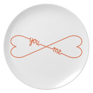 you and me, heart shaped infinity sign, plate