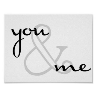 you and me modern design black white love poster