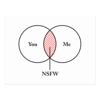 You and Me NSFW Venn Diagram Postcard