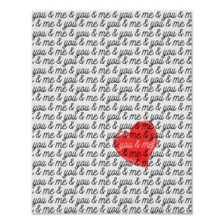 You and Me Valentine's Day poster Love print