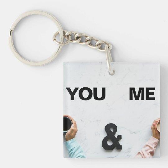 You and Me Wedding photo custom Modern Key Ring