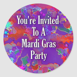 You&apos're Invited To A Mardi Gras Party Classic Round Sticker