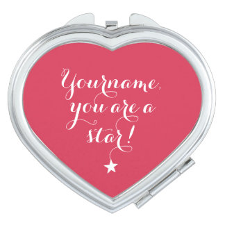 YOU ARE A STAR custom name & color pocket mirror