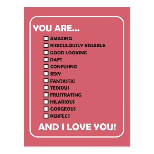 You Are...  And I Love You Post Card