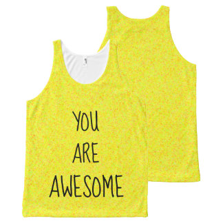 YOU ARE AWESOME Cool Bright Yellow Happy All-Over Print Tank Top