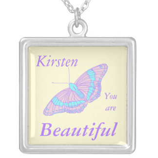 You are Beautiful, Butterfly Square Pendant Necklace