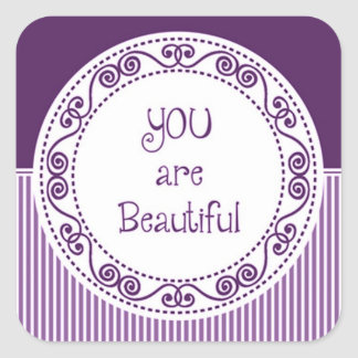 You are Beautiful Purple Stickers