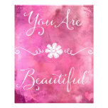 You Are Beautiful Quote Pink Watercolor Photograph
