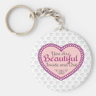 You Are Beautiful Word Art Gift Quotes Key Ring