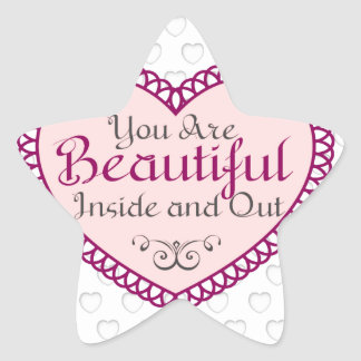 You Are Beautiful Word Art Gift Quotes Star Sticker