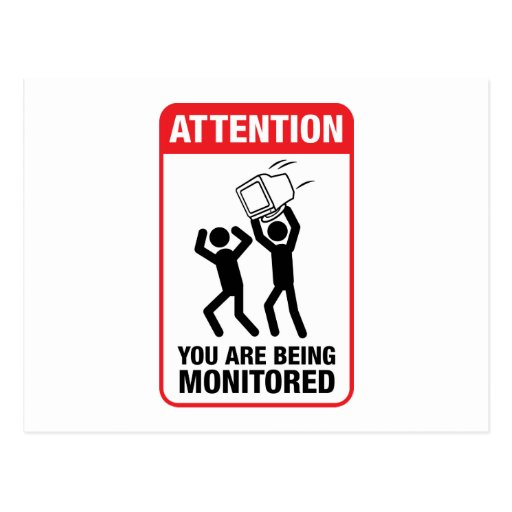 You Are Being Monitored - Office Humour Postcard