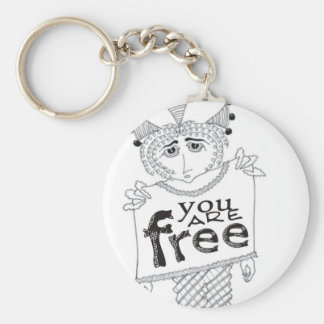 You Are Free Basic Round Button Key Ring