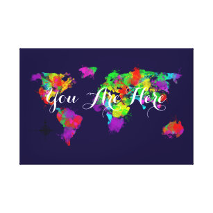 World map wrapped canvas prints zazzle you are here colourful world map canvas print gumiabroncs Gallery