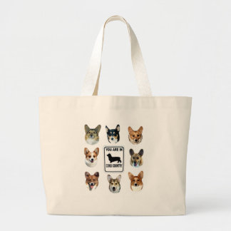 You Are In  Corgi Country Large Tote Bag