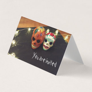 """""""You are invited"""" Greeting Card with Sugar Skulls"""
