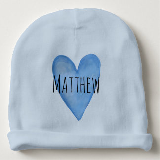 You Are Loved Customizable Blue Heart Boy's Baby Beanie