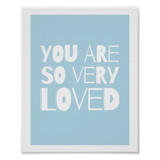 You Are Loved Sweet Modern Wall Decor   Blue